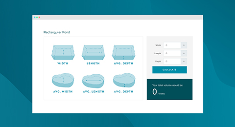 A preview of the pond volume calculators tool.
